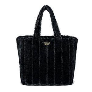 Victoria's Secret Faux Fur Tote Black NWOT